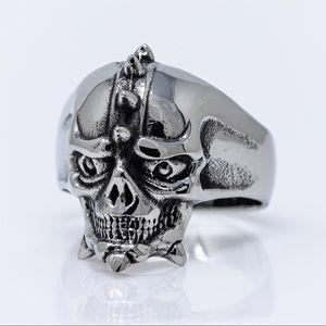 Spiked Skull Biker Ring